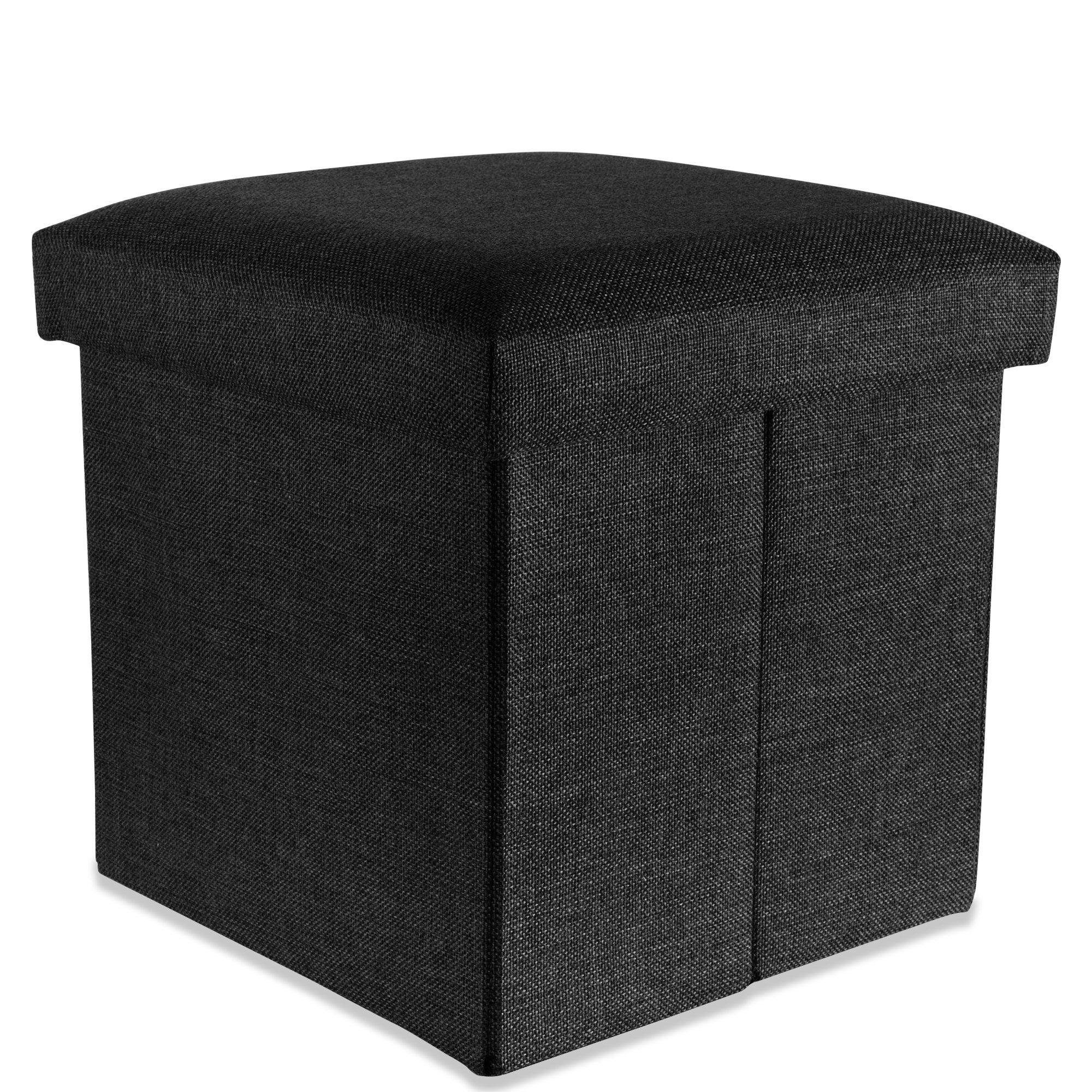 Intirilife Faltbarer Sitzhocker 30x30x30 Cm In Diamant Schwarz Sitzw Rfel Mit Stauraum Und Deckel Aus Stoff In Leinen In 2020 Aufbewahrungsbox Sitzhocker Aussenmobel