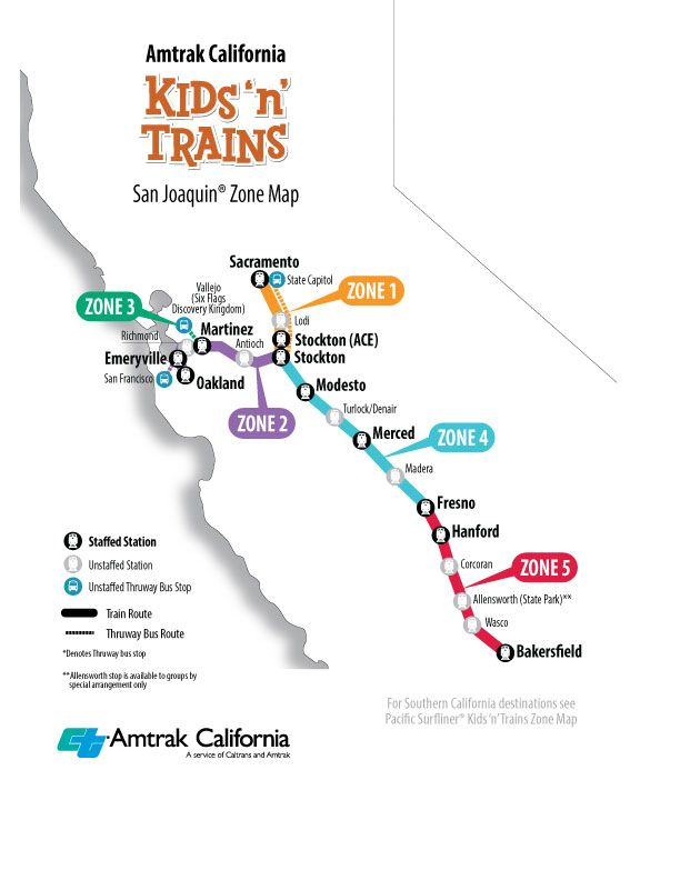 Amtrak California San Joaquin Zone Map