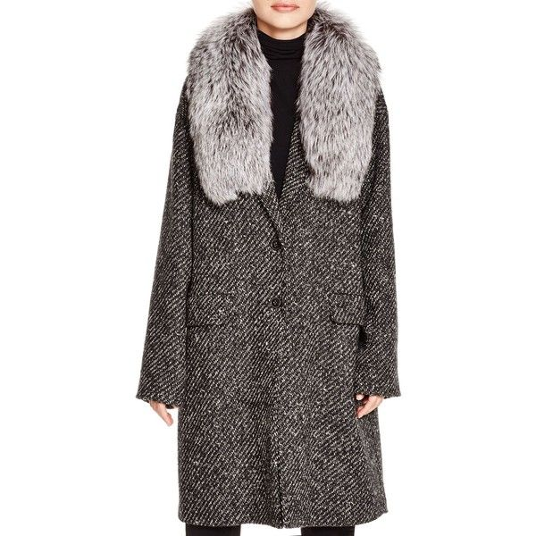 Theory Sekary Alden Fur Collar Coat ($1,115) ❤ liked on Polyvore featuring outerwear, coats, fur collar coat, theory coat and tweed coat