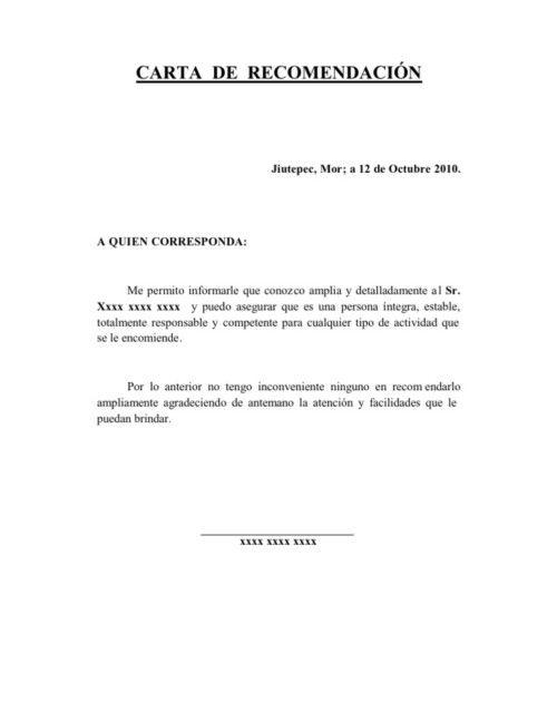 Carta De Recomendación Personal Todo Imágenes Cartas De Recomendacion Cartas Carta De Referencia