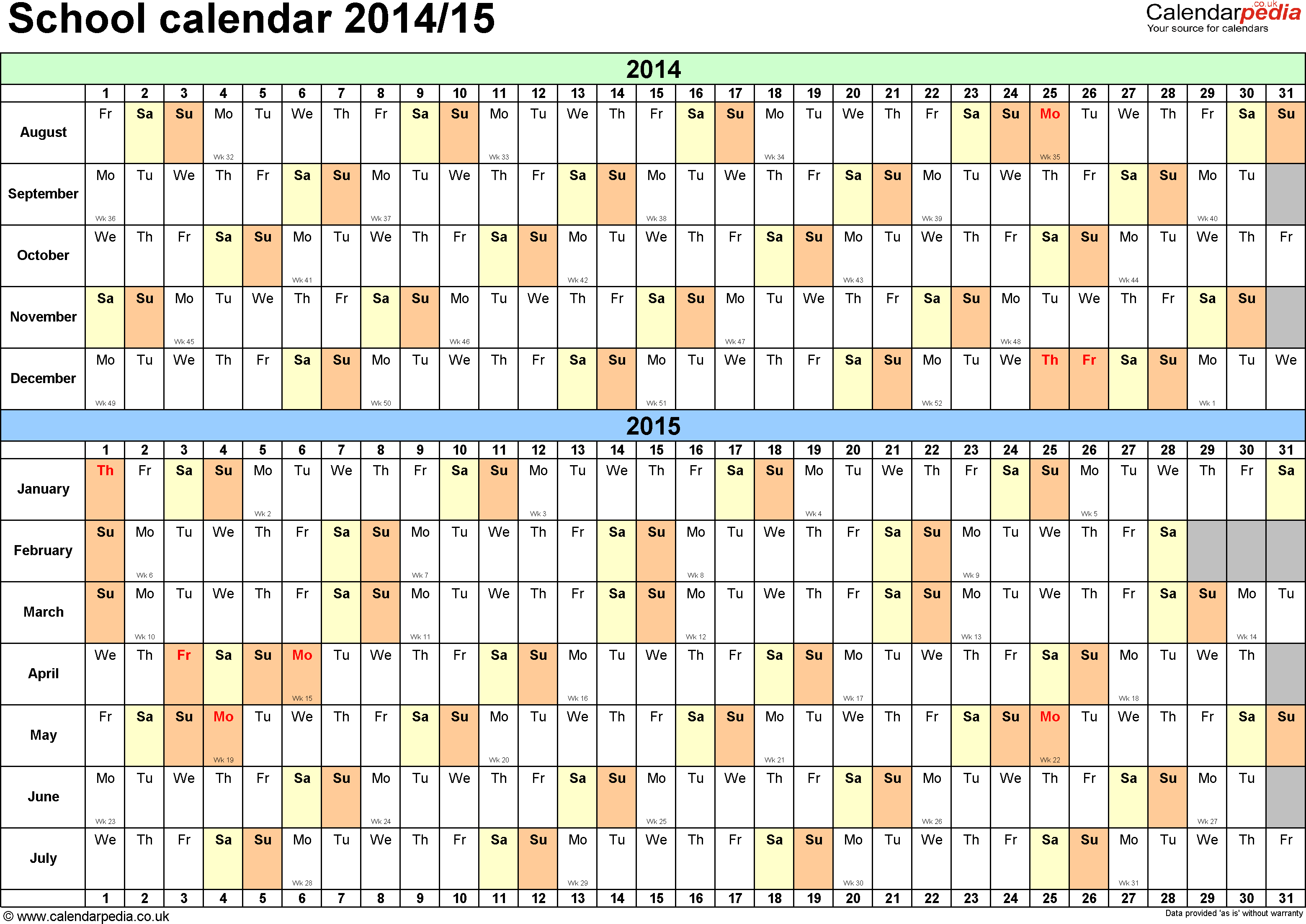 15 month calendar template - template 2 school year calendars 2014 15 as pdf template