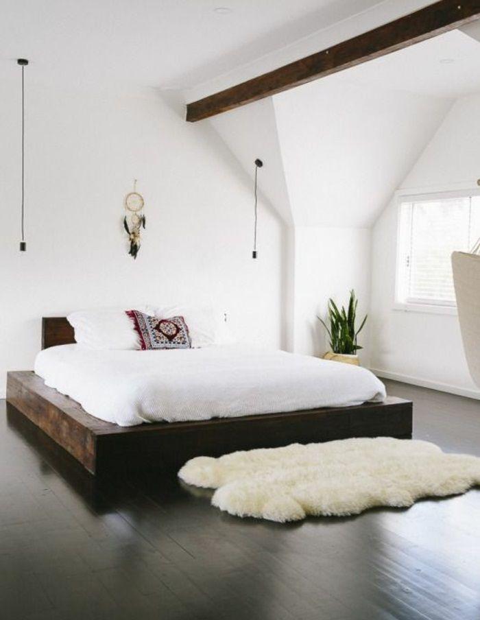bett schlafzimmer mit fellteppich toni and me Pinterest - das richtige bett schlafzimmer