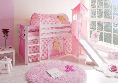 Hochbett mit Turm und Rutsche  - schlafzimmer kiefer weiß