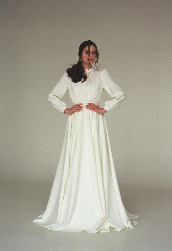 Long sleeve wedding dress Modest boho wedding dress Minimalist bridal gown Modern wedding dress for winter Crepe ivory wedding gown VESTA