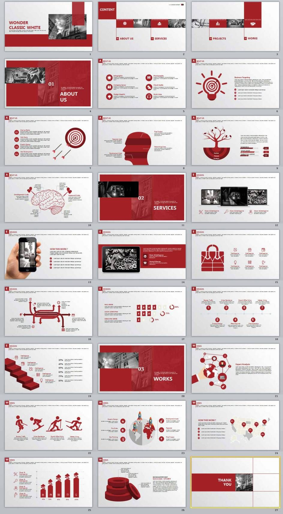 27 red business purple annual report powerpoint templates