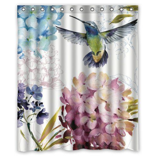 Vintage Hummingbird 60 X 72 Polyester Fabric Waterproof Shower