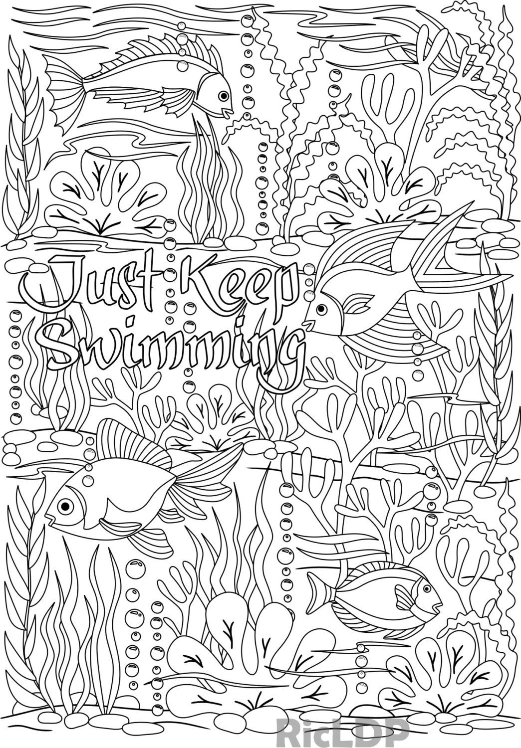 Just Keep Swimming Coloring Page Under The Sea Design Fishes