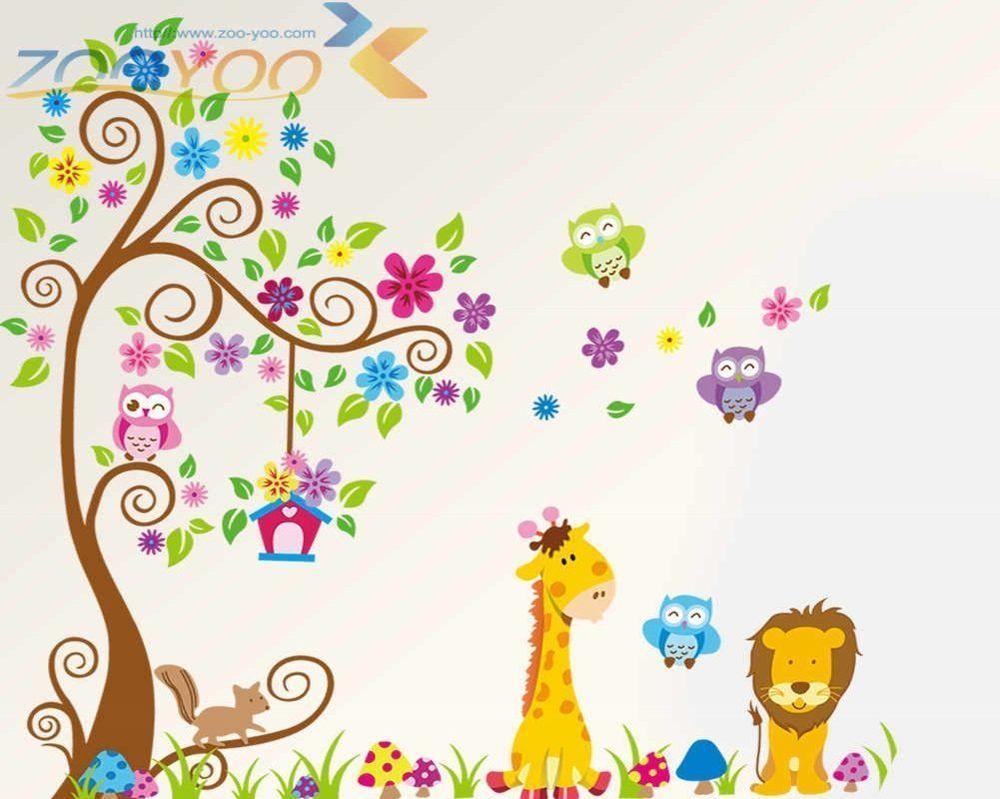 XL Wandtattoo Wandsticker Eule Baum Giraffe Löwe Baum Kinderzimmer ...