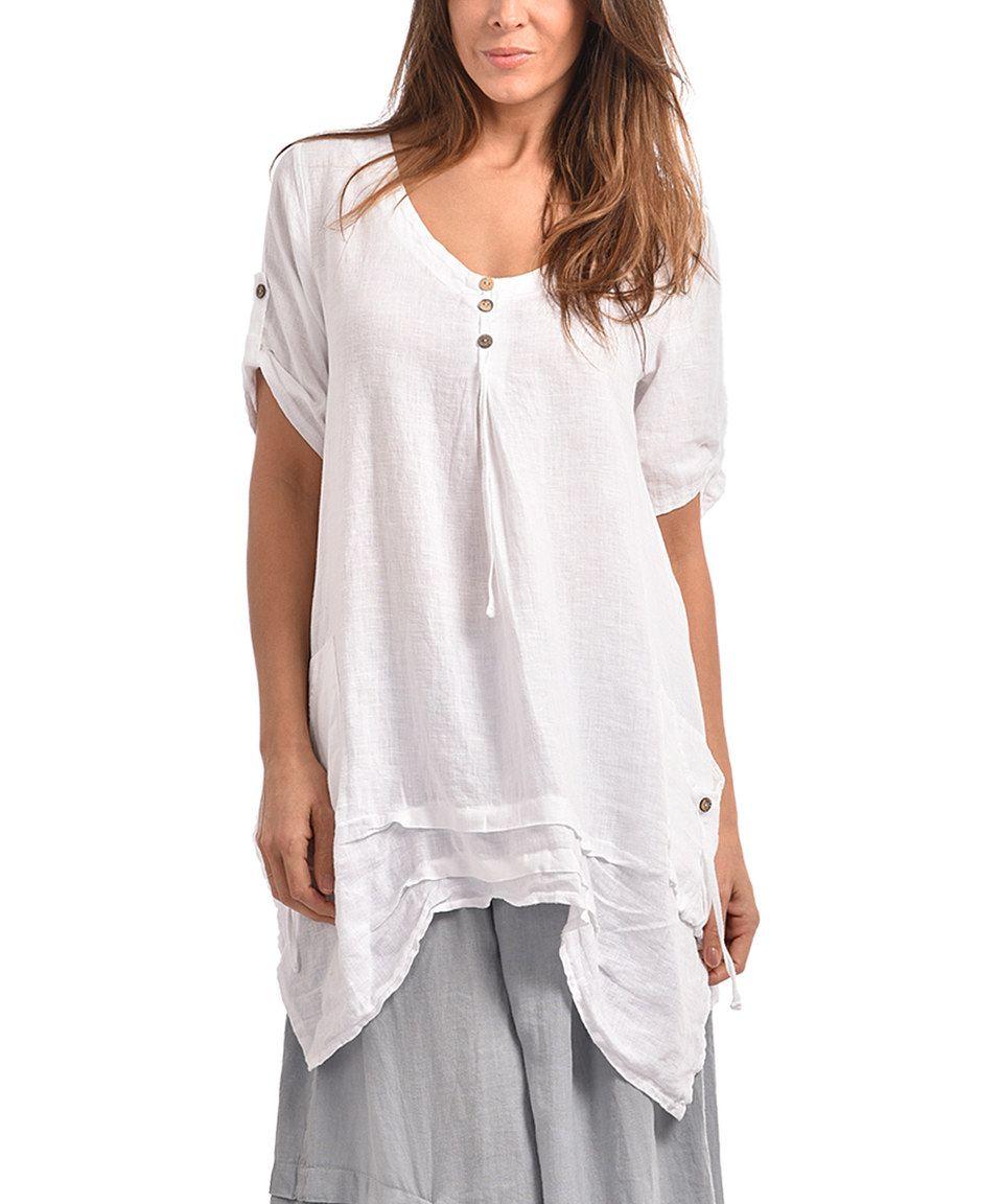 Couleur Lin White Linen Handkerchief Hem Tunic - Plus Too ...