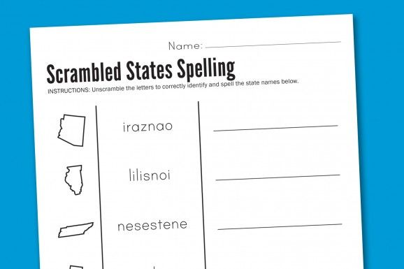 Worksheet Wednesday: Scrambled States Spelling | Paging Supermom ...