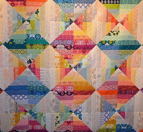 Blended Scraps - detail by shecanquilt, via Flickr