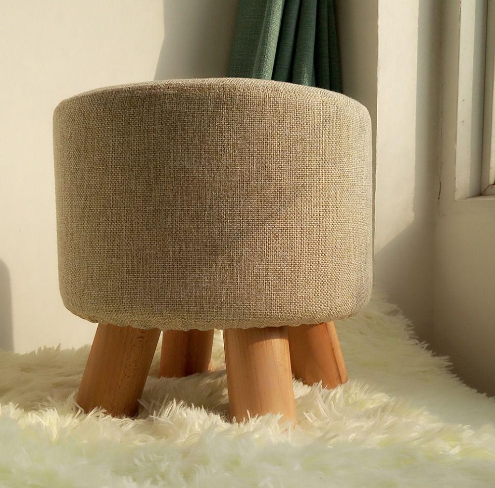 Wooden Ottoman Stool Round Fabric Sofa Stool Footstool Detachable ...