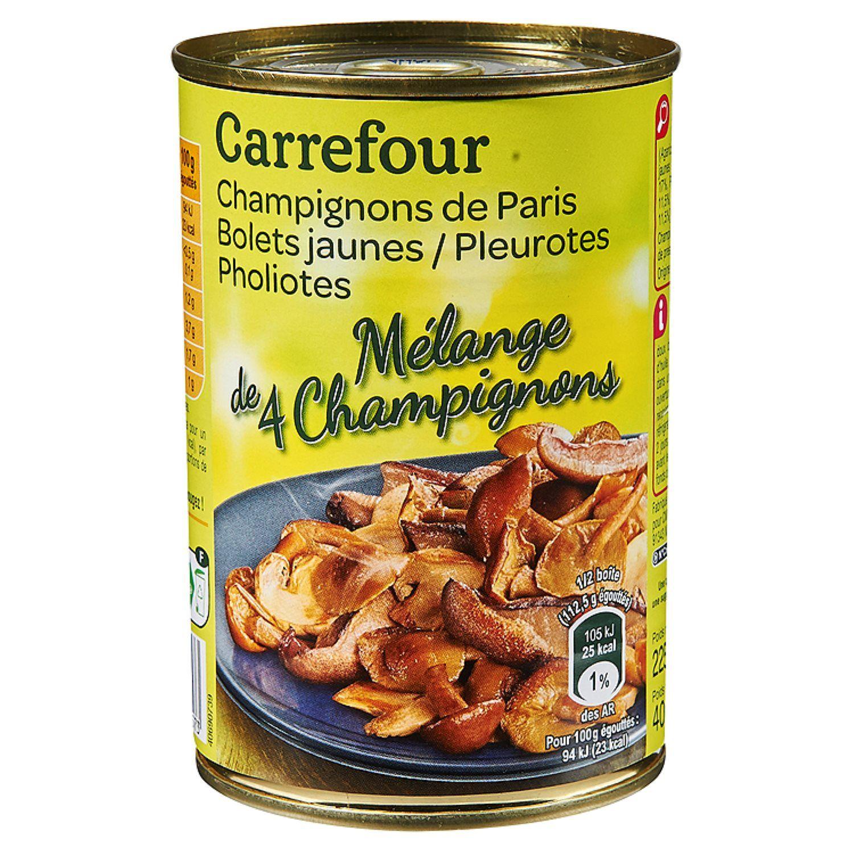 Champignons Melange De 4 Varietes Carrefour La Boite De 225g Net