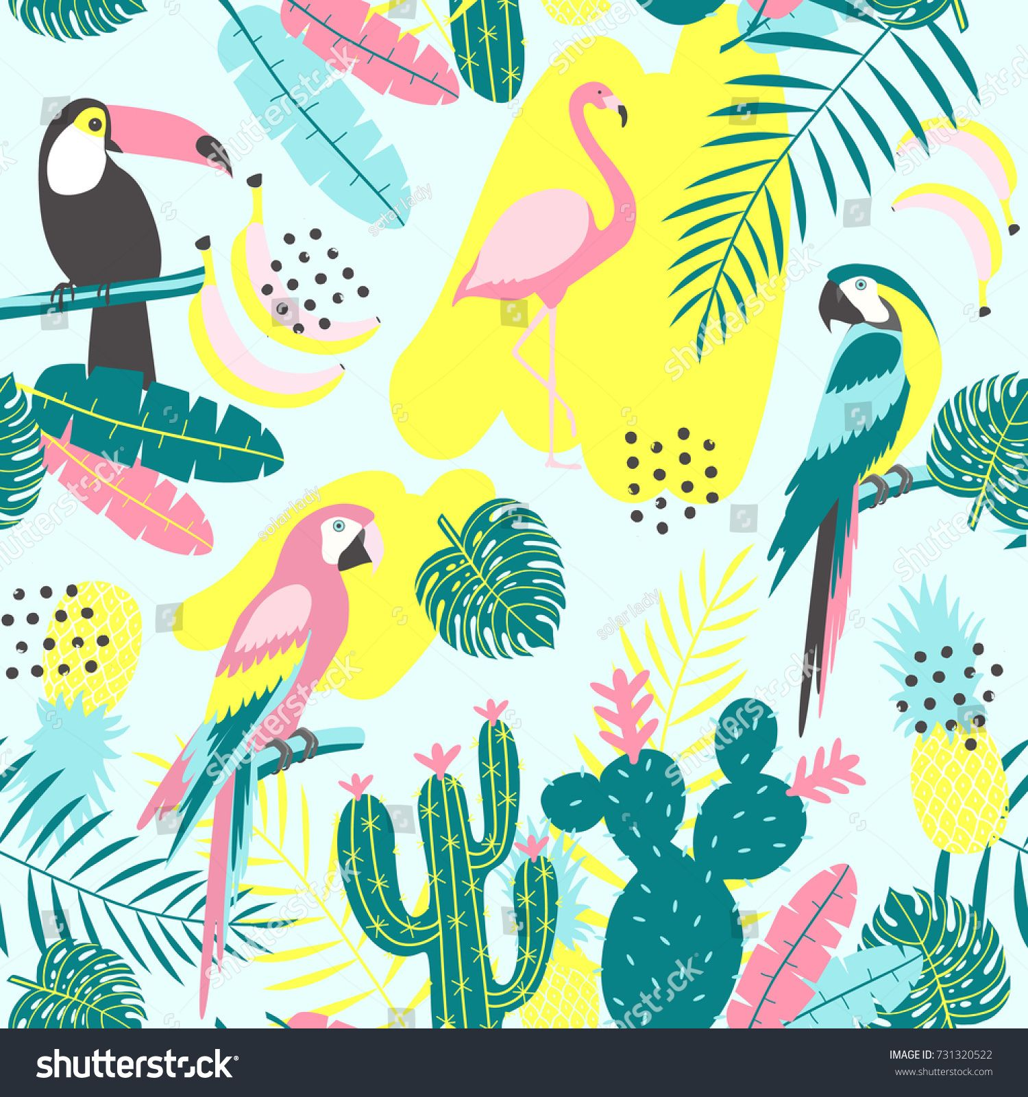 Tropical seamless pattern with toucan, flamingos, parrot, cactuses and exotic leaves. Vector illustration toucan#flamingos#pattern#Tropical #tropicalpattern