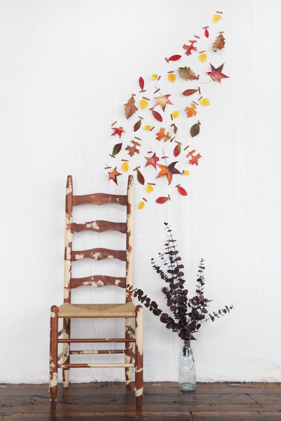 Gather Some Leaves From Outside And Tape Them To Your Wall I Used Brown Washi But This Would Work With Standard Masking As Well