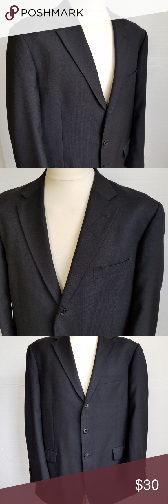 41d83ac387b Gianni Uomo Men s Black 3 Button Sport Coat Jacket Gianni Uomo Men s Black  3 Button Sport