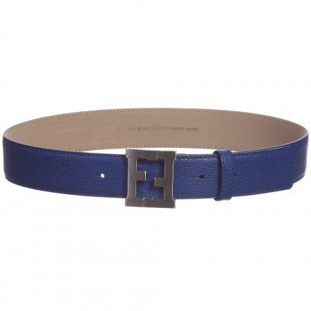 Unisex Blue Leather 'FF' Buckle Belt