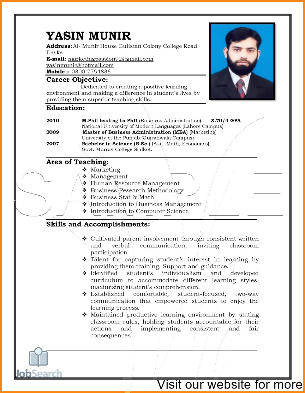 Resume Template Pdf Download