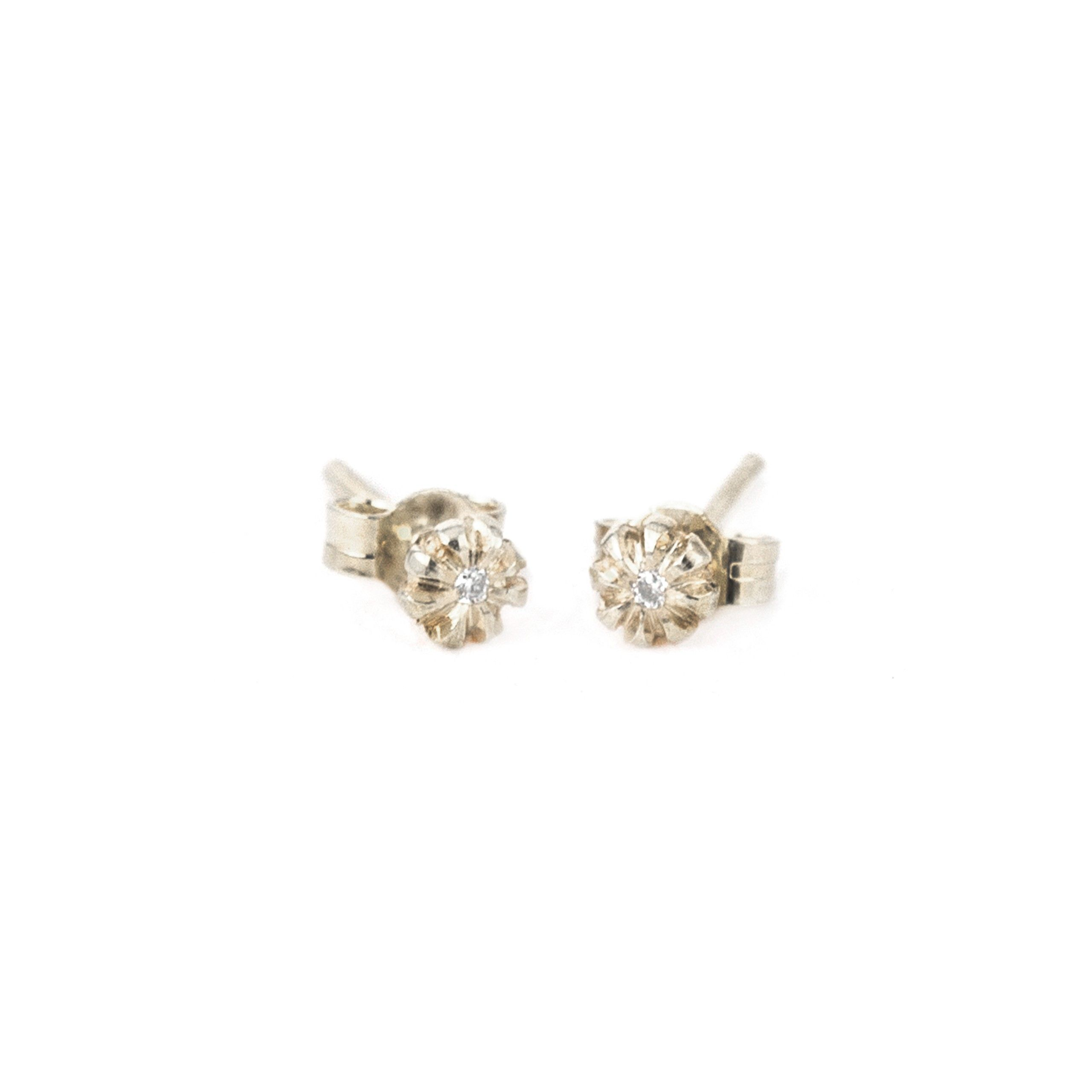Alex Monroe Jewelry Baby Bud Stud Earrings W Tiny Diamonds