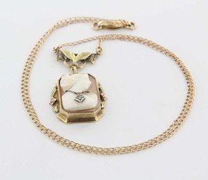 Vintage 10 Karat Yellow Rose Green Gold Diamond Habille Shell Cameo Necklace