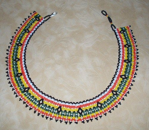native american beaded necklace traditional netted collar