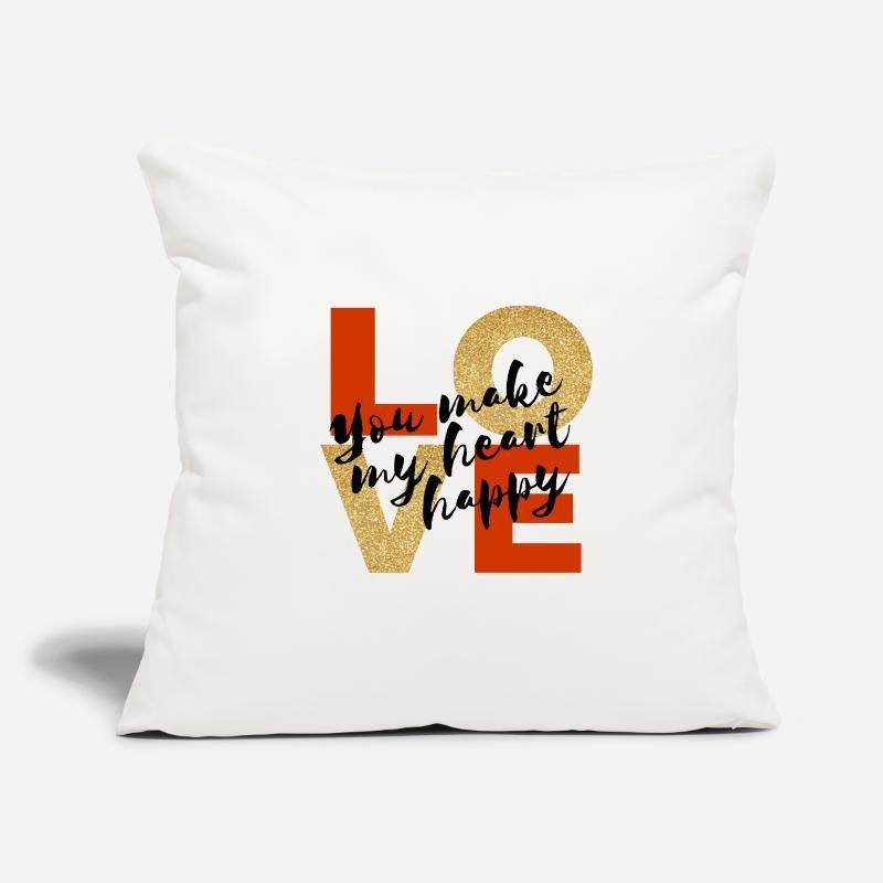 "Love You make my heart Happy Throw Pillow Cover 18"" x 18"" 