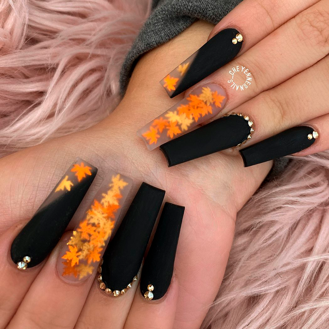Cute Fall Coffin Nails 2020 Ideas | Cute Manicure