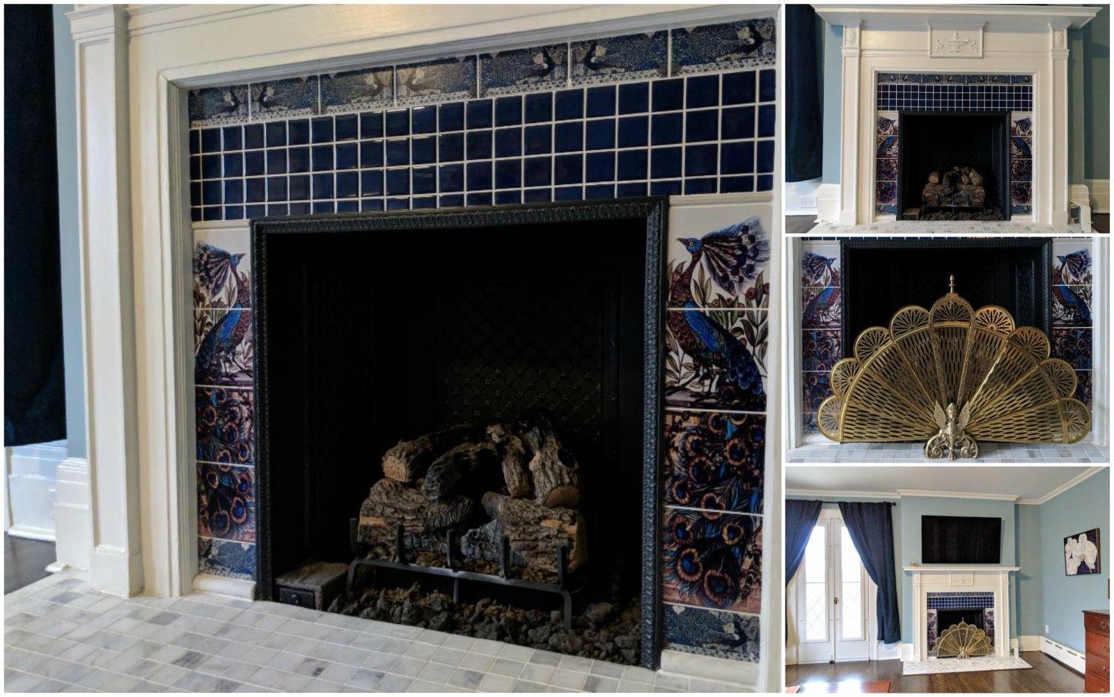 William De Morgan Pea And Salamander Paneled Fireplace With Border Tiles Williammorristile