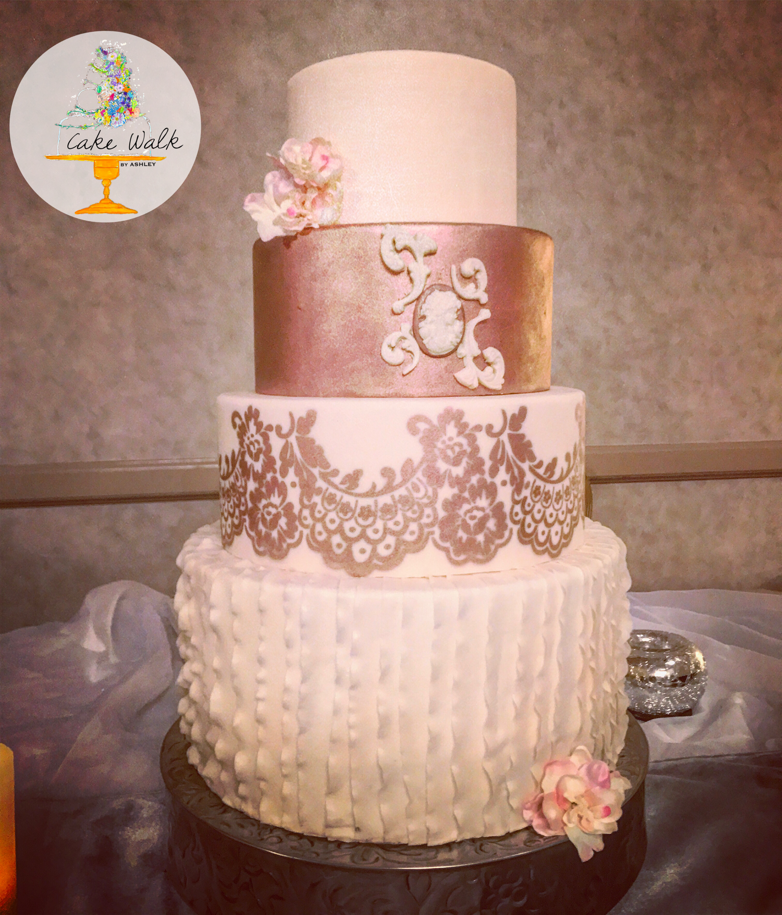 Stunning metallic rose gold and ivory victorian style wedding cake ...