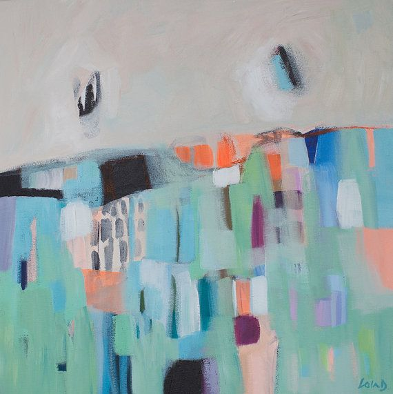 ABSTRACT painting, green painting, orange, blue, modern painting, expressionist painting. $245.00, via Etsy.