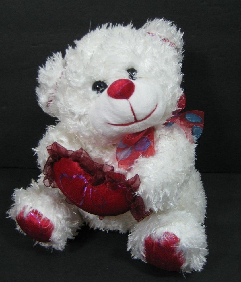 9 White Red Valentine Bear Holding Heart Plush Toy Cvs B244 Heart Plush Bear Valentines Plush Stuffed Animals