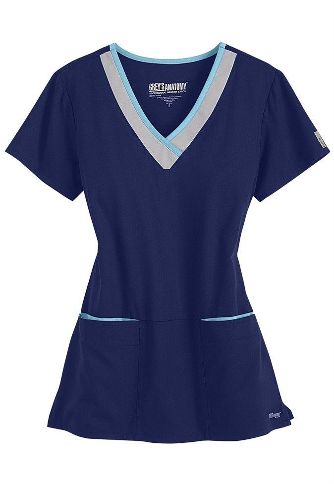 Greys Anatomy Active color block contrast 3 pocket scrub top in ...