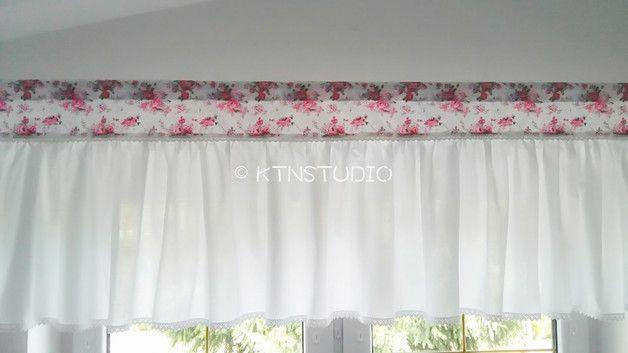 Romantischer Querbehang Mit Rosen Vorhange Fensterdekoration Einrichten Und Wohnen