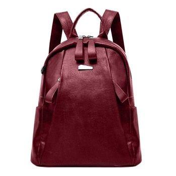 121c4b702 Mujeres Soft PU Mochila De Cuero viajes gran capacidad con cremallera bolsa  de la escuela para adolescentes bolsa de hombro Vertical cuadrado mochilas