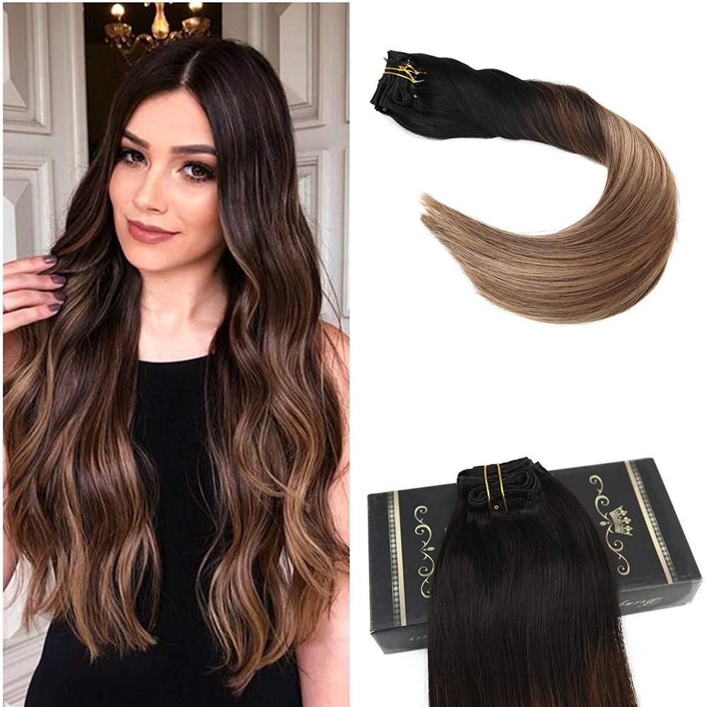 Ugeat 120g Clip in Real Human Hair Extensions 1B/4/27
