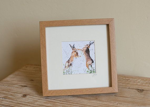 boxing hares no.2 giclee square framed print by lucyarthub on Etsy ...