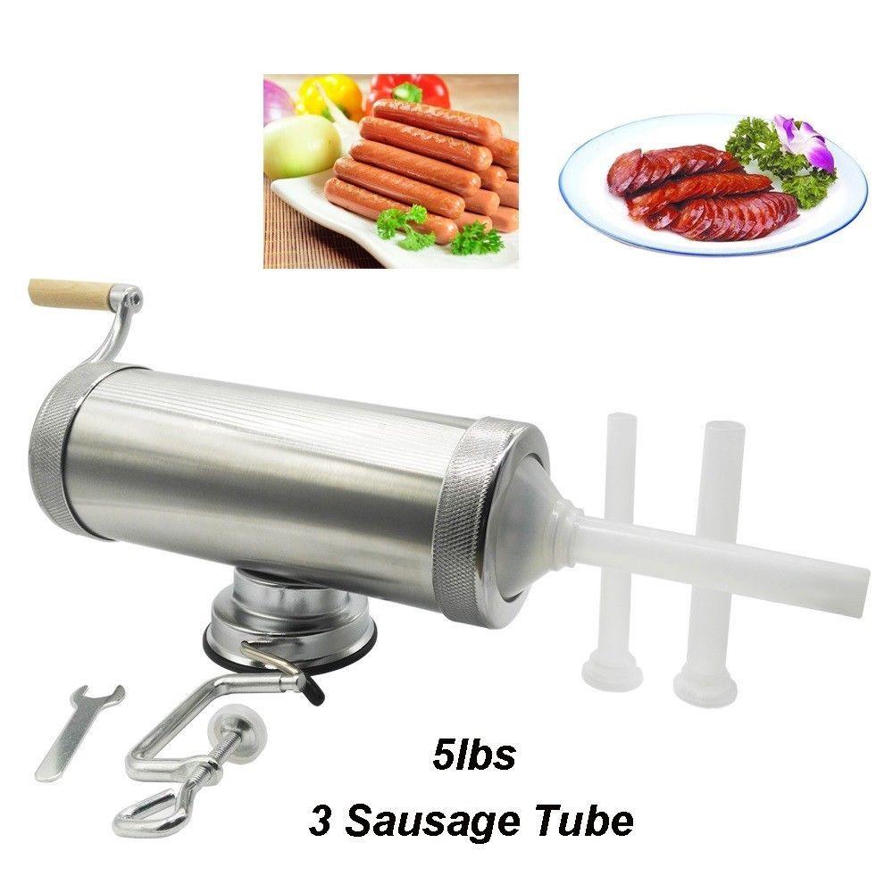 Lbs meat stuffer aluminum manual homemade sausage filler salami