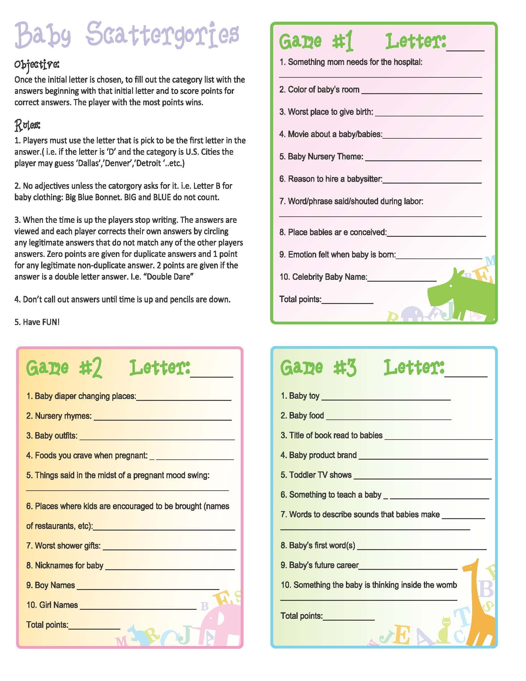 Baby Shower Game Scattergies Use the from the game or the