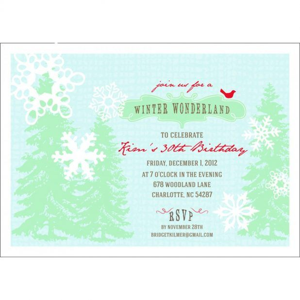Printable Winter Wonderland Holiday Party Invitation Template With