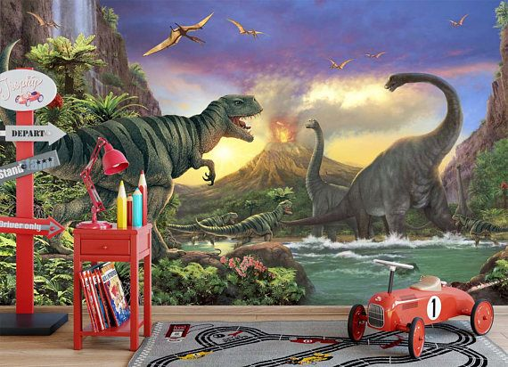 Jurassic world theme wallpaper Trex dinosaurs kids wall