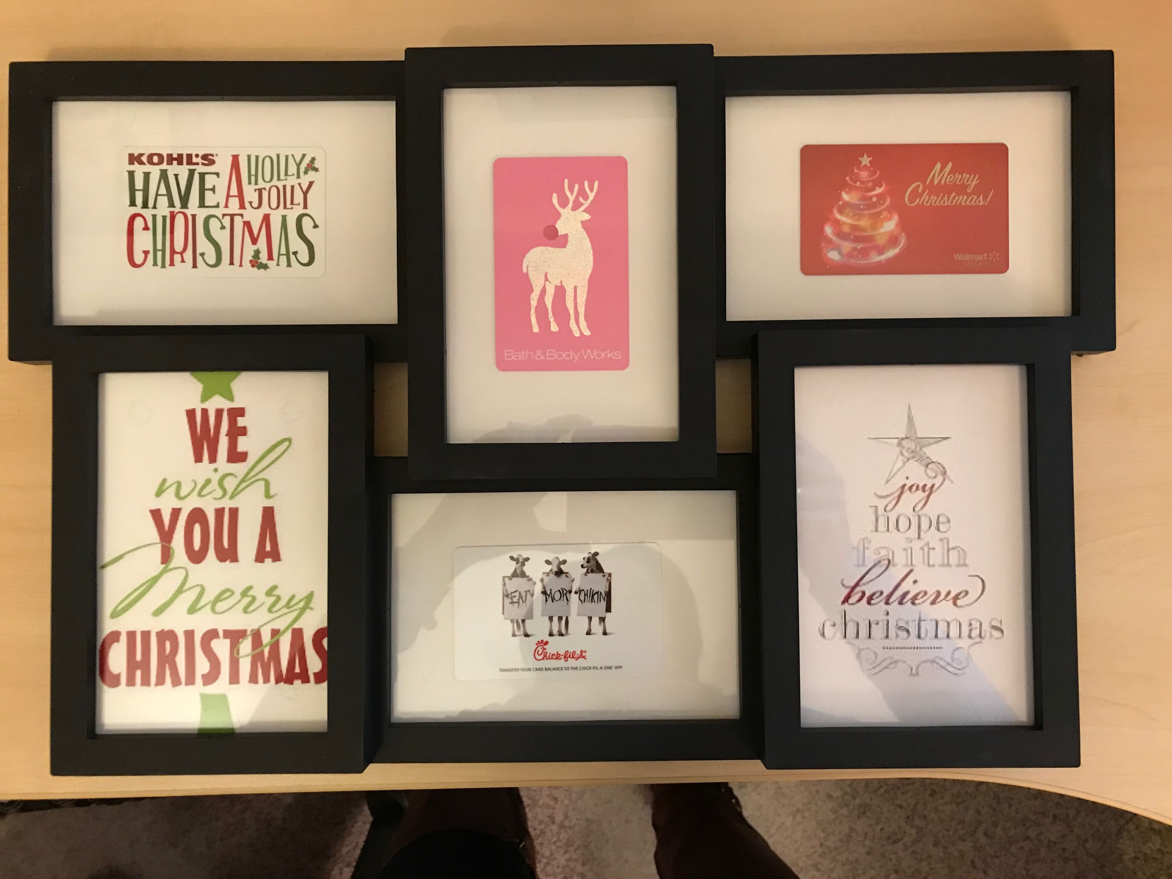 Creative Way To Give Multiple Gift Cards Put Them In A Picture Frame Then The Frame Free Christmas Gift Labels Free Printable Birthday Cards Gift Card Craft