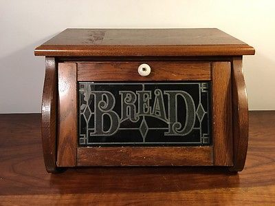 Vintage Wood Bread Box W Stained Glass Window Cornwall Rustic Country For The Home In 2019 Vintage Bread Boxes Bread Boxes Vintage Wood