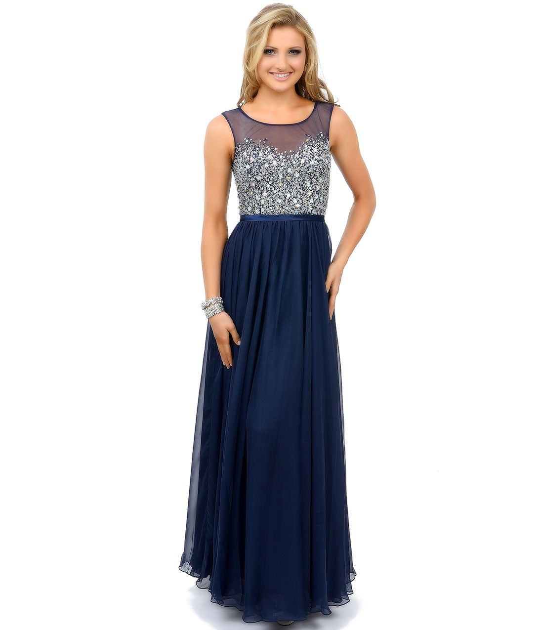 Navy Blue Crystal Beaded Sleeveless Chiffon Long Dress | Kobieta ...