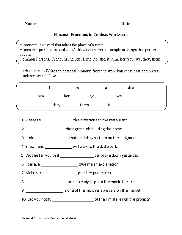 Personal Pronouns in Context Worksheet – Personal Pronouns Worksheet