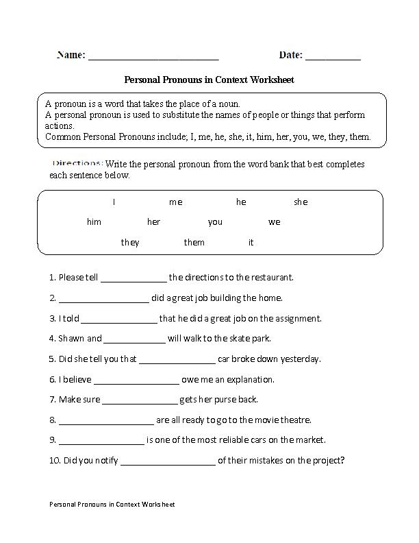Personal Pronouns in Context Worksheet | Pronouns Worksheets | Pinterest