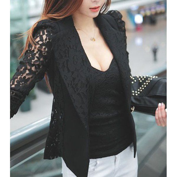 Stylish Lace Lapel Long Sleeve Solid Color Women's Blazer