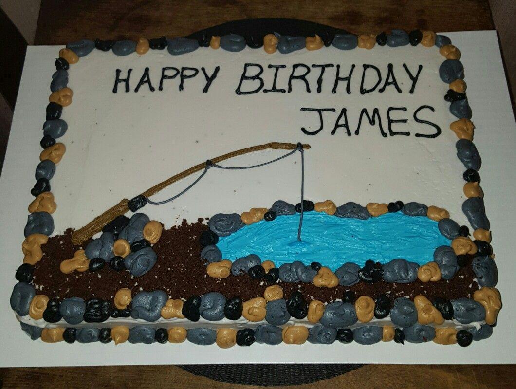 Fishing Themed Birthday Sheet Cake Cake Bitch Pinterest Cake