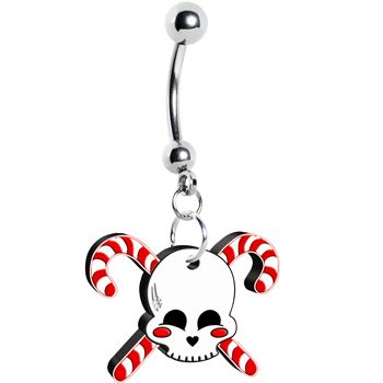 Skull Candy Cane Crossbones Dangle Belly Ring | Body Candy Body Jewelry