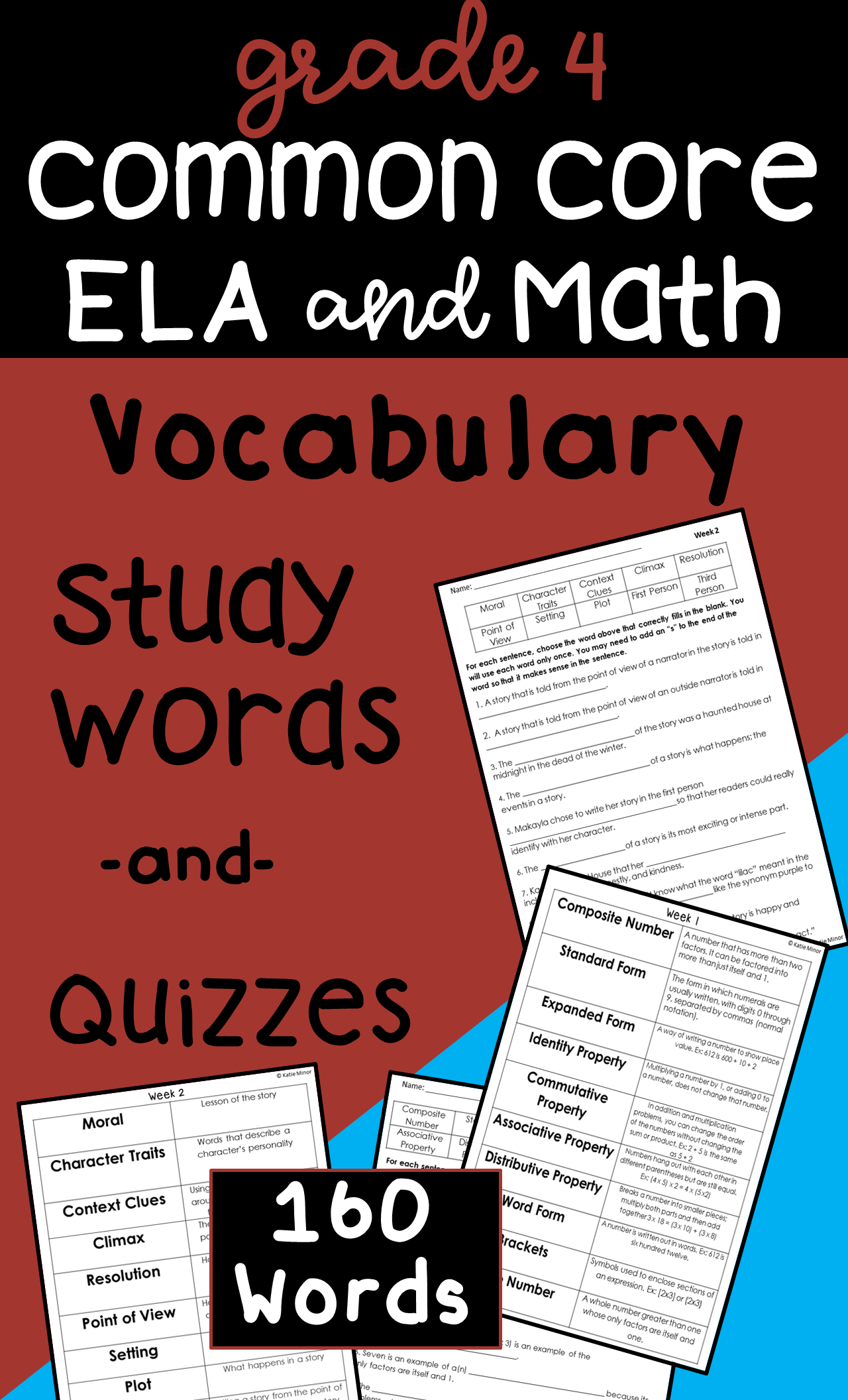 4th Grade End Of Grade Ela And Math Words And Quizzes