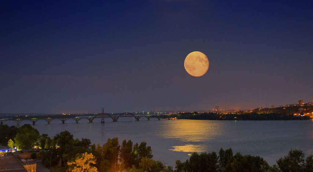 Quot Moon Over The River Quot Moon Art Moon Over The River